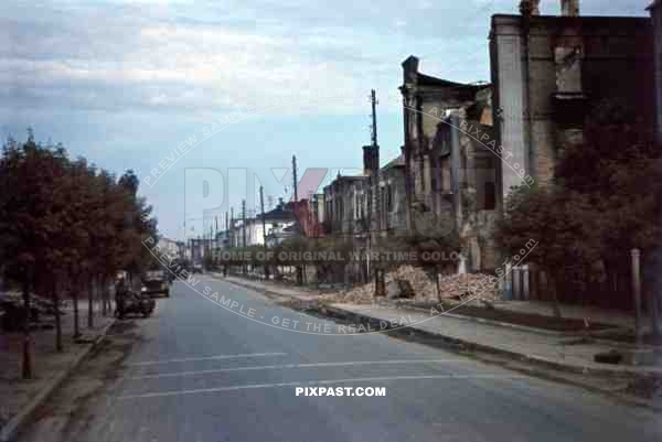 14th Panzer Division enters Riwne in Ukraine 1941. Soborna Street, Left is Riwne Cathedral