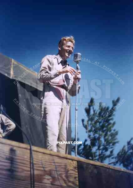 Actor and comedian Danny Kaye in Okinawa, Japan 1946