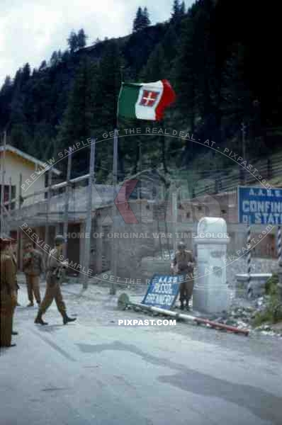 American infantry troops capture Austrian Italian border Brenner Pass 1945.