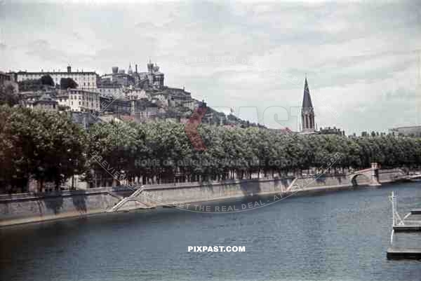 At the riverbank in Lyon, France 1940