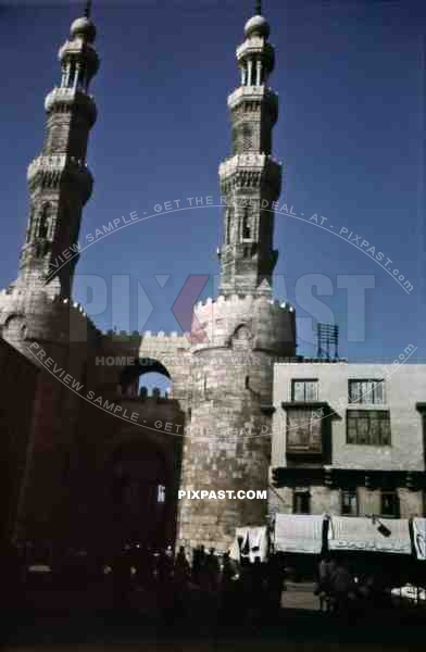 Bab Zuweila city gate in Cairo, Egypt 1939