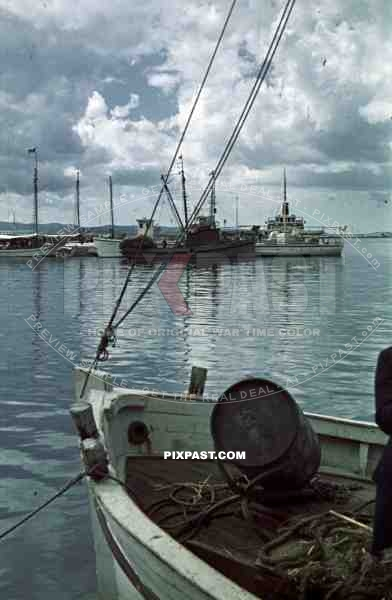 boats in the harbour, Croatia. Italian occupation. April 15th 1941.