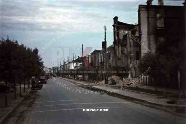 Bombed street in Riwne, Ukraine 1941