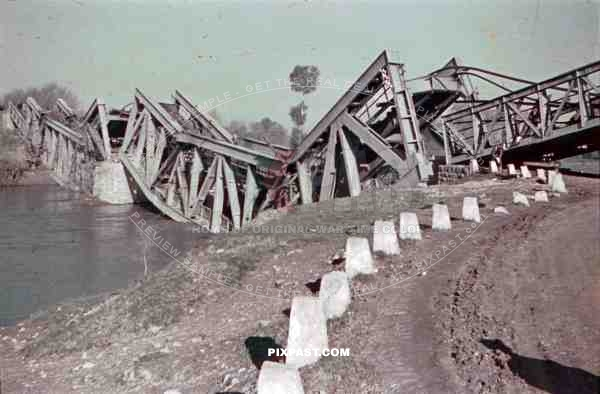 broken rail bridge near Belgrade, Serbia ~1941