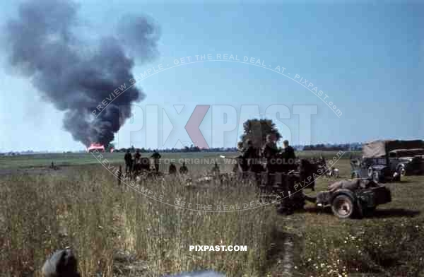 Burning shed in the area of Dubno-Lutsk-Brody, Ukraine 1941