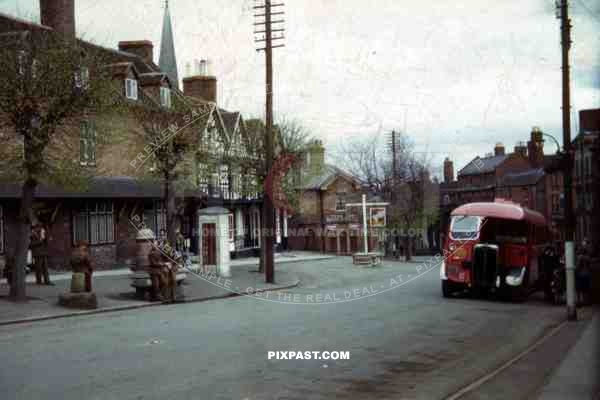 bus at the High Street in Cleobury, England ~1944