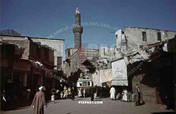 Busy street in Cairo, Egypt 1939