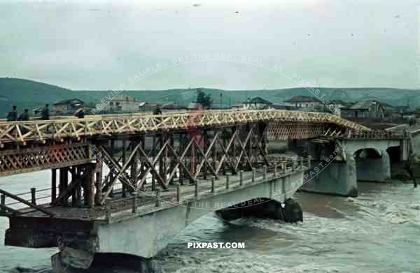 Captured repaired destroyed road bridge river Pioneer unit Greece 1942 wooden construction village