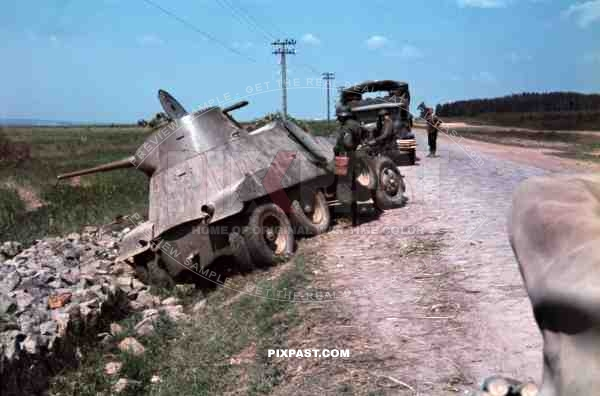 Captured Russian BA-11 soviet armoured car,  Ukraine 1941, 94. Infantry Division, Swords, Meissen, Signal corp,