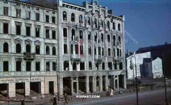 destroyed buildings in Riga, Latvia 1943