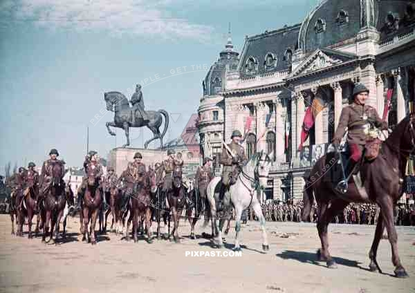 equestrian statue of King Carol in Bucharest, Romania ~1939