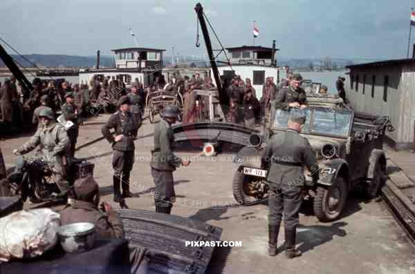Ferry over the river Save in Brod, Yugoslavia 1941