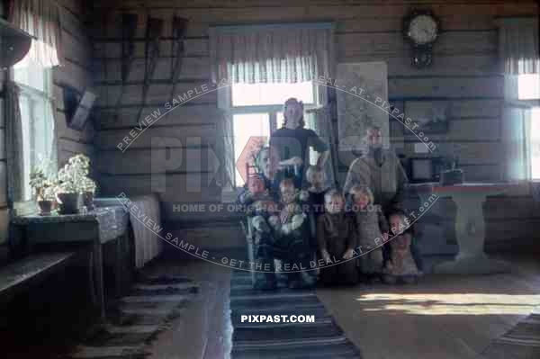 finnish family in cabin, Finland 1944
