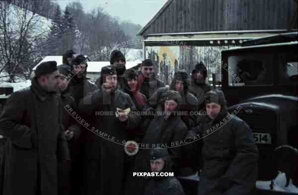 German ambulance red cross Wehrmacht unit farm snow Norway winter 1942 group traffic sign truck lorry cold winter jacket