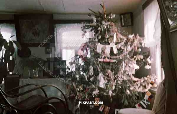 German officers Christmas Tree in Russian cottage, Russian Front 1942.