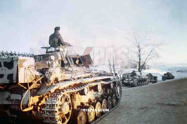 German Panzer 3 of the 4th Panzer Army, Sun setting on Russian Front 1942. Gzhatsk Gagarin. Smolensk Oblast