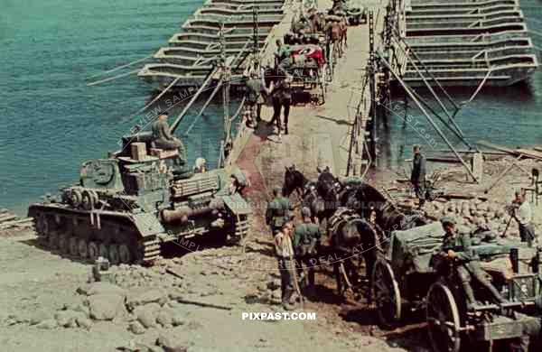 German Panzer 4 beside pontoon bridge. 19th Panzer Division. Russia 1942.
