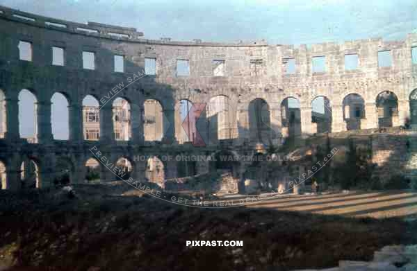 Inside the Pula collosseum, Croatia 1942