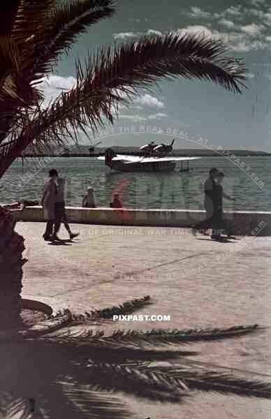 Italian facist airforce Seaplane, harbour of Split, Croatia 1941. Italian occupation. April 15th 1941.