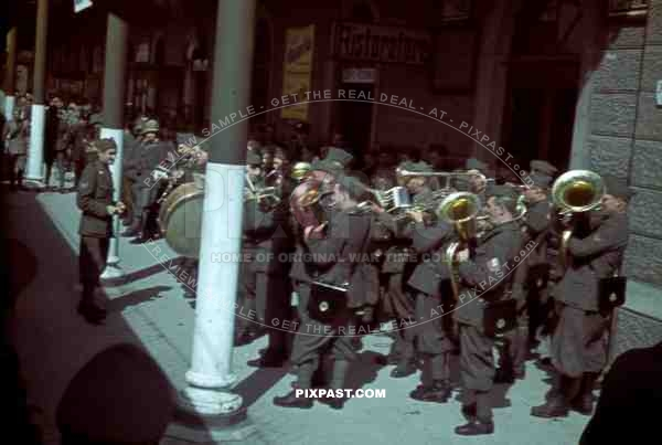 Italian military music band play in train station in Venice, Italy 1943