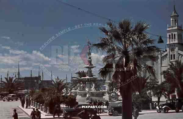 monastery and fountain in Split, Croatia 1941. Italian occupation. April 15th 1941.