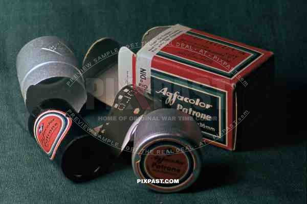 Original german color photo slide agfacolor showing war time agfacolor film and package design. Germany 1941