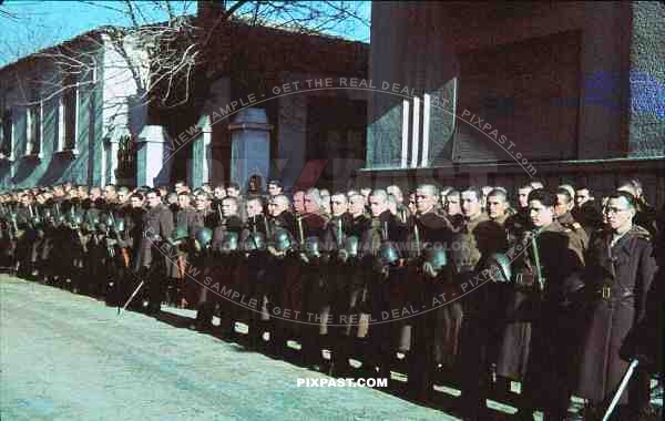 parade of Romanian soldiers, Romania 1942