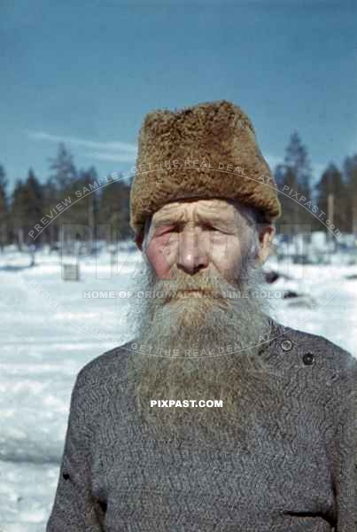 portrait of an old man in Finland 1944