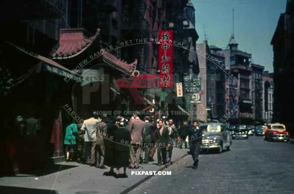 PostW color 1947 New York City China Town cars taxi german tourists