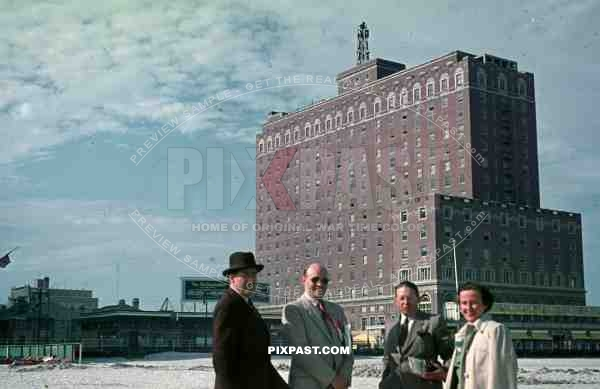 PostW color 1947 New York city factory building german tourists board walk beach