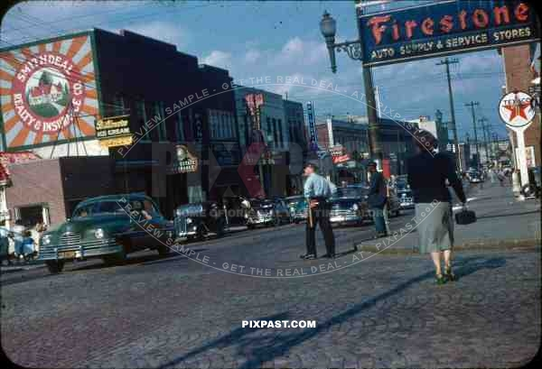 PostW color 1947 USA Winston Salem North Carolina 5th Cherry cars posters firestone texaco police