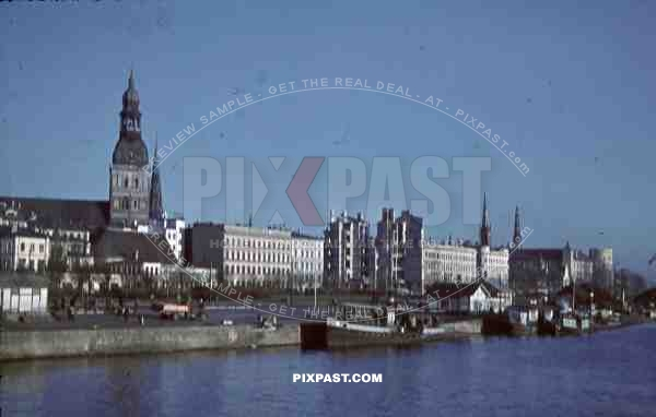 Riga Cathedral, Latvia, 1944, 134th Gebirgsjäger, Harbour, german werhmacht trucks, ruins, destruction, river Daugava,