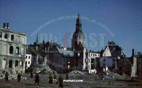 Riga Dom badly destroyed Latvia 1944, market place, burned out shops and houses.