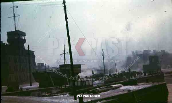 Riga, Latvia, 1944, 134th Gebirgsjäger, Harbour, german werhmacht trucks, ruins, destruction, river Daugava,