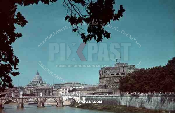 Rome Italy 1942. ST Peter's Basilica Petersdom and Castel Sant'Angelo Engelsburg beside river Tiber