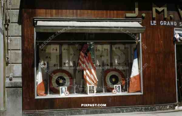 Shop front, Paris Celebrating their Liberation from German Occupation. 26 August 1944.