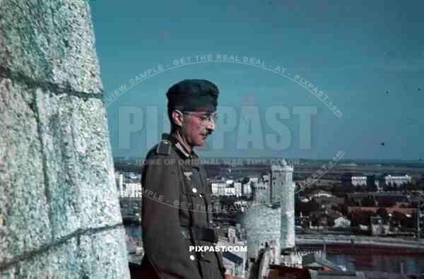 Special duties german soldier castle Tower of the Latern La Rochelle France summer 1940