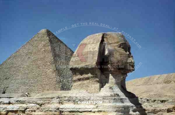 Sphinx and Pyramid of Cheops in Giza, Egypt 1939