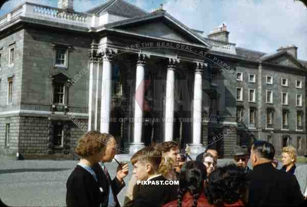 Trinity College Dublin, Ireland, 1953, American tourists inside the main square.