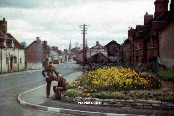 two GIs at the Vaughan Rd. in Cleobury, England ~1944