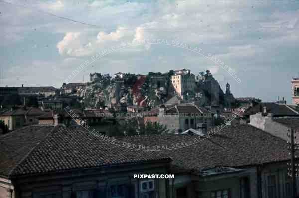 WW2 Color Belgrade Serbia 1941 City view roof tops Church Castle mountain