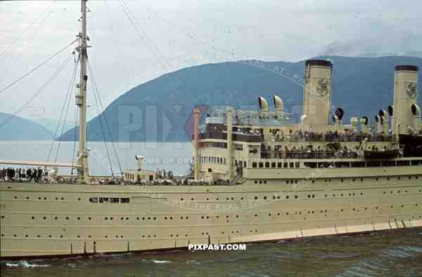 WW2 Color KDF Ship DER DEUTSCHE sailing Norwegian Fjord 1939 tourists holiday Norway