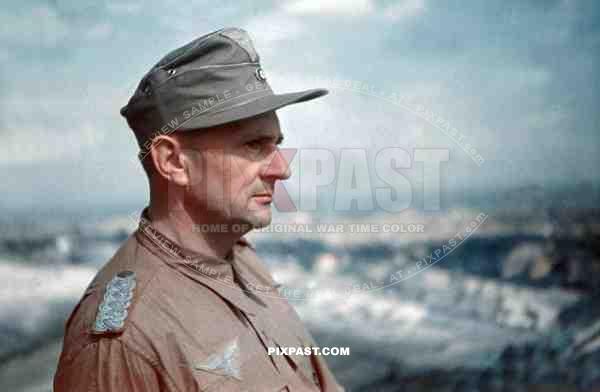 Luftwaffe Fak Officer Major in tropical uniform and hat